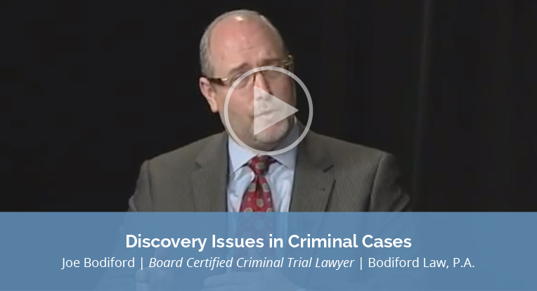 "Joe Bodiford, Board Certified Criminal Trial Lawyer, Bodiford Law, P.A., explains ""Discovery Issues in Criminal Cases"" in this video."