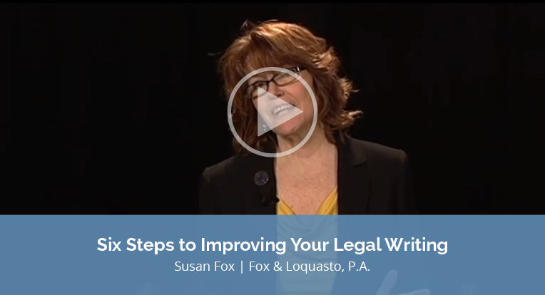 Improving Your Legal Writing graphic features a business woman in front of a black background, wearing a black blazer and glasses. There is an opaque play button graphic in the center of the image.