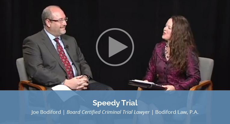 "Joe Bodiford, Board Certified Criminal Trial Lawyer, Bodiford Law, P.A., explains ""Speedy Trial"" in this video."