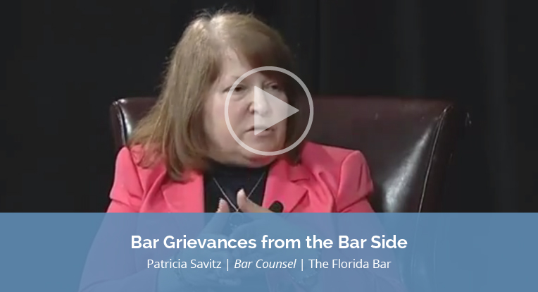 "Patricia Savitz, Bar Counsel, The Florida Bar explains ""Bar Grievances from the Bar Side"" in this video."