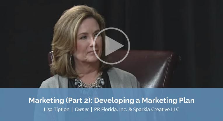 "Lisa Tiption, owner of PR Florida, Inc. & Sparkia Creative LLC explains ""Marketing Part 2: Developing a Marketing Plan"" in this video."