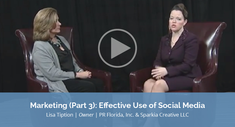 """Lisa Tiption, owner of PR Florida, Inc. & Sparkia Creative LLC explains """"Marketing Part 3: Effective Use of Social Media"""" in this video."""