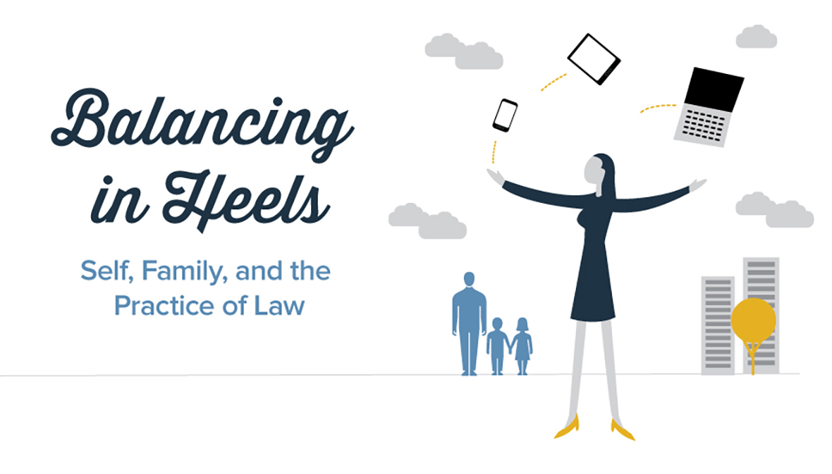 Balancing in Heels graphic with blue text on a white background, to the right there are gray clouds and a simple illustration of an adult and two children walking hand in hand, in front of them is a woman balancing objects