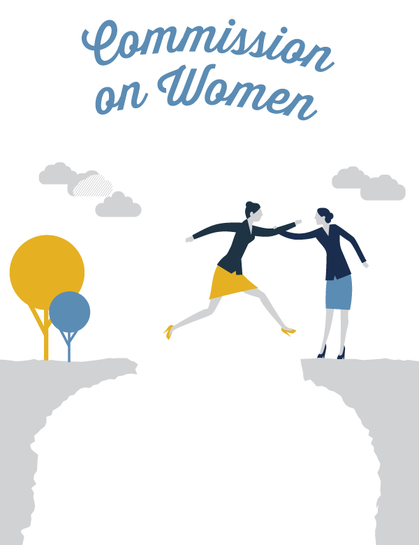 Commission on Women graphic featuring an illustration of one woman helping another woman jump from one cliff to another