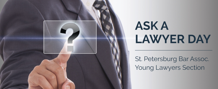 """""""Ask a Lawyer Day"""" graphic featured a Caucasian businessman wearing a gray suit and tie. He's reaching out and touching an overlayed white question mark in a box"""