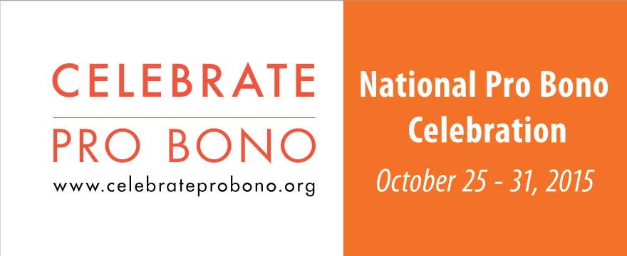 """National Pro Bono Celebration graphic is two part with a white background and orange """"Celebrate Pro Bono"""" text on the left, orange background and white """"National Pro Bono Celebration"""" text on the right."""