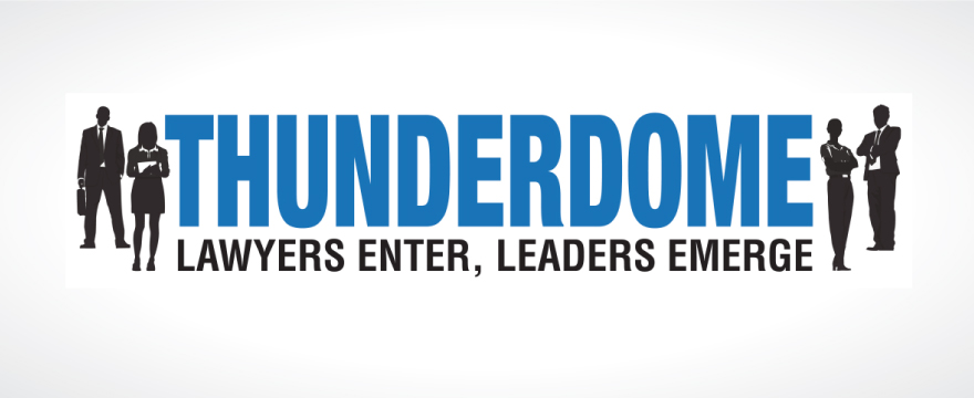 """""""Thunderdome"""" is written in blue with 2 black silhouette businesspeople on each side"""