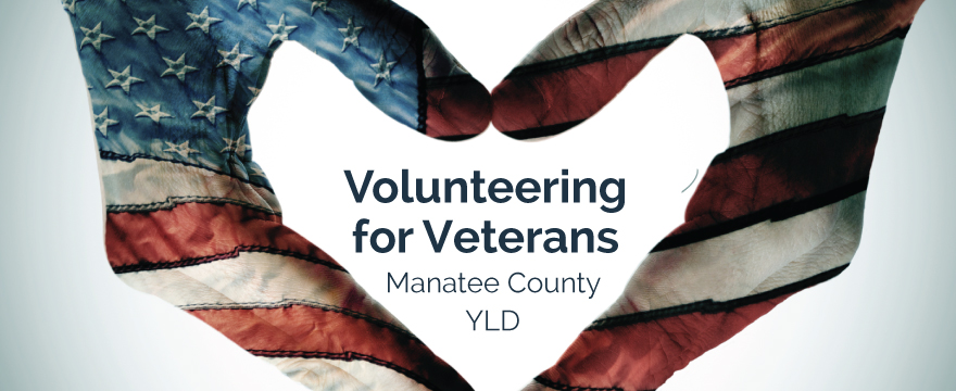 """Hands are painted with the American flag on them, the hands are touching in the shape of a heart. Inside the heart it reads """"Volunteering for Veterans Manatee County YLD"""""""