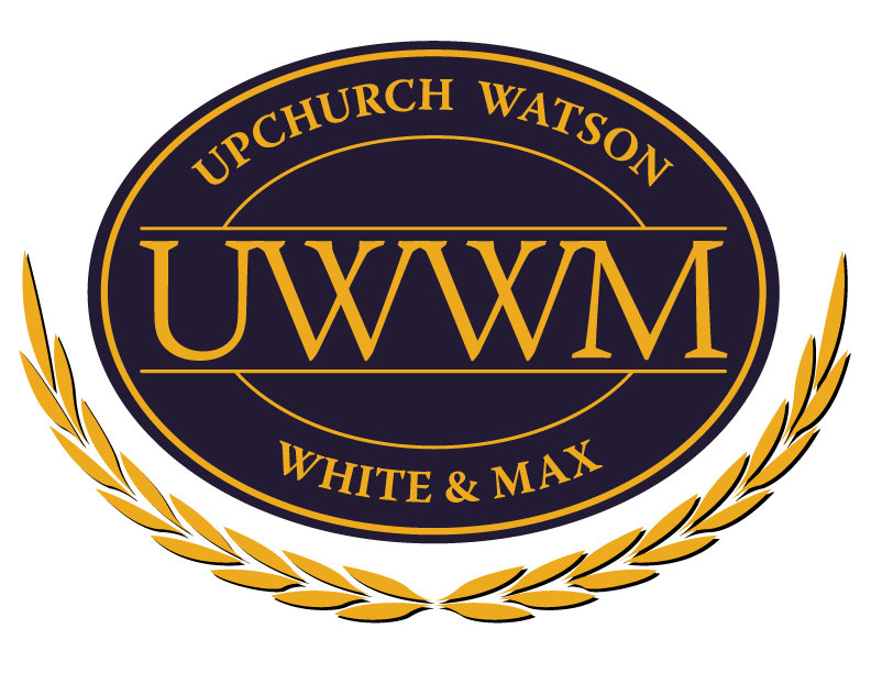 Upchurch Watson White & Max logo, dark navy oval with gold text and a v leaf pattern underneath
