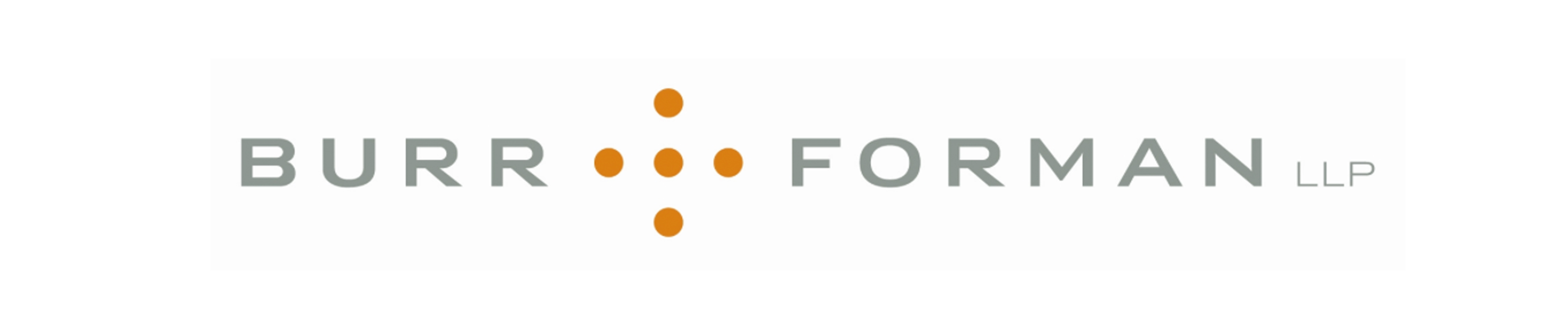 Burr Forman logo in gray and orange on a white background