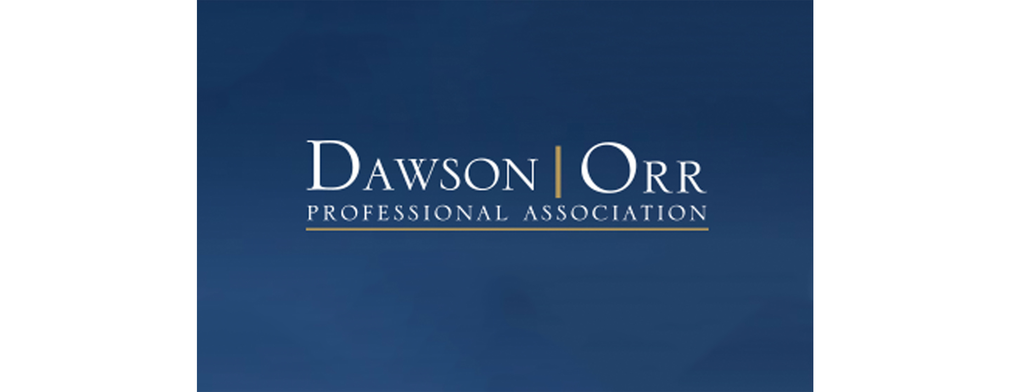 Dawson Orr logo in white on a blue background