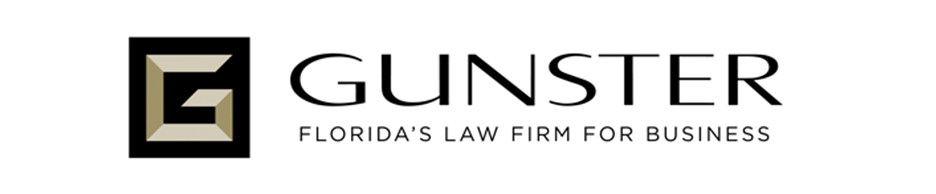 Gunster Law Firm logo in black on a white background