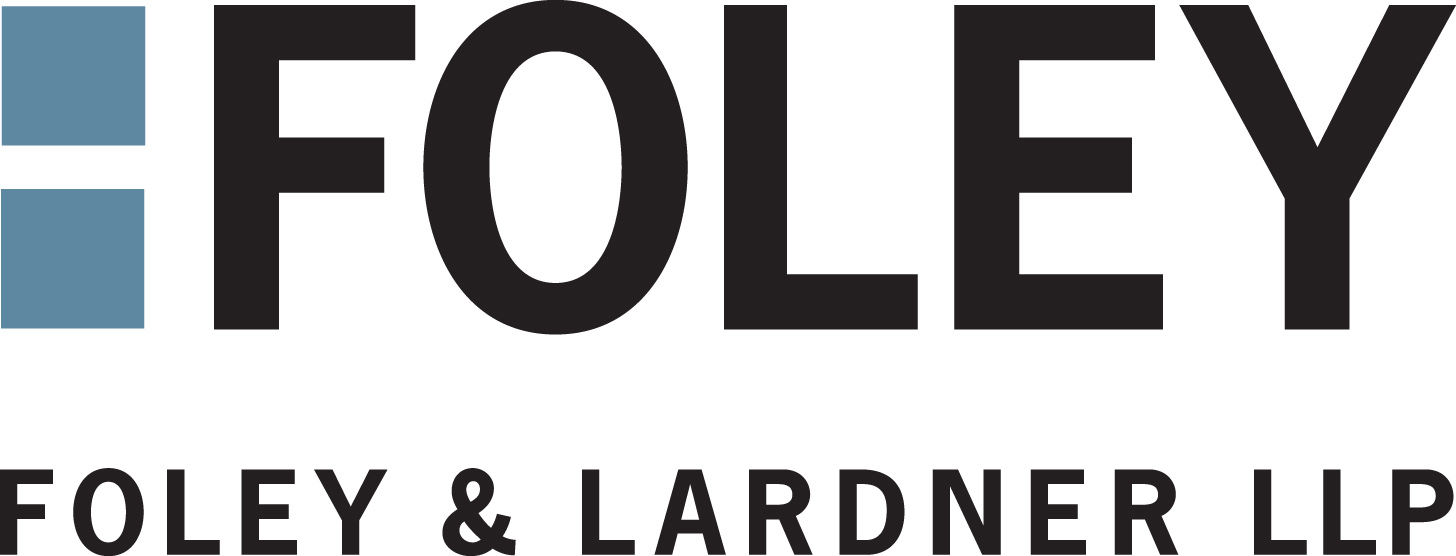 Foley and Lardner LLP logo. Two blue boxes stacked on top of each other with large black text for Foley