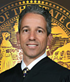 Judge Jason Dimitris headshot of a middle aged Caucasian man with grey hair and brown eyes in a black judges' robe with the gold and blue seal of Florida in the background