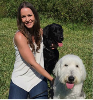 Rebecca Kibbe with two dogs