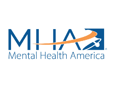FLAYLD Mental Health America logo, it has a decorative bell with an orange swoosh element and the rest of the logo is blue