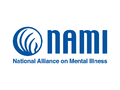 FLAYLD National Alliance on Mental Illness logo, says NAMI with a circle decoration. The entire logo is a dark blue