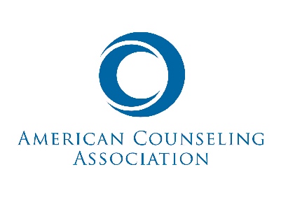 FLAYLD American Counseling Association logo, it is a blue circle decorative element with the title underneath it. The entire logo is a dark blue.