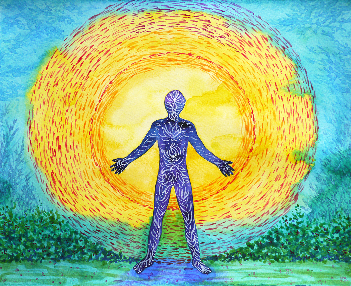 human and higher power, abstract watercolor painting, man with tree standing in front of sun, Van Gogh style painting