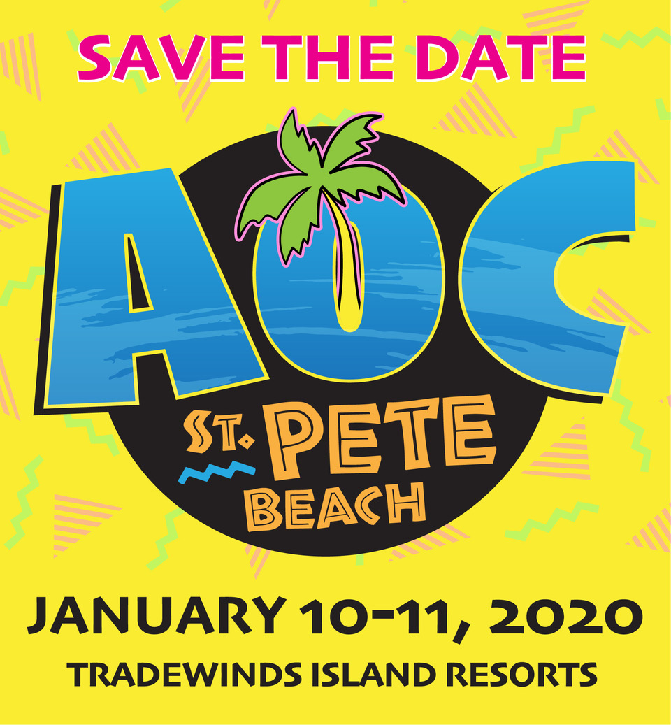 AOC Event Save the Date Graphic, January 10-11, 2020, Tradewinds Island Resorts