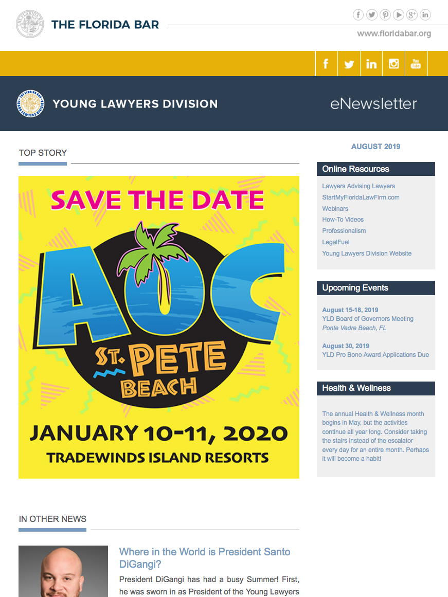 Florida Young Lawyers Division November eNewsletter featuring AOC save the date image